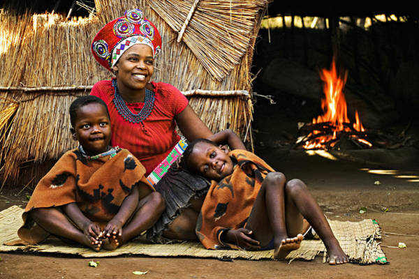 Released Photograph - Zulu Woman In Traditional Red Headdress by Martin Harvey