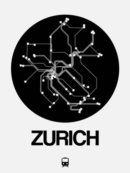 Wall Art - Digital Art - Zurich Black Subway Map by Naxart Studio