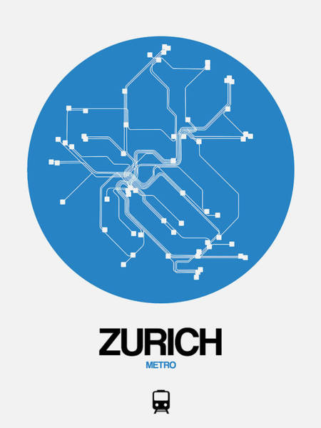 Wall Art - Digital Art - Zurich Blue Subway Map by Naxart Studio