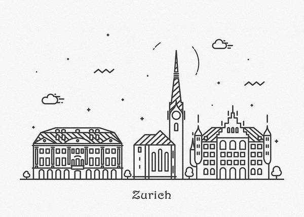 Drawing - Zurich Cityscape Travel Poster by Inspirowl Design