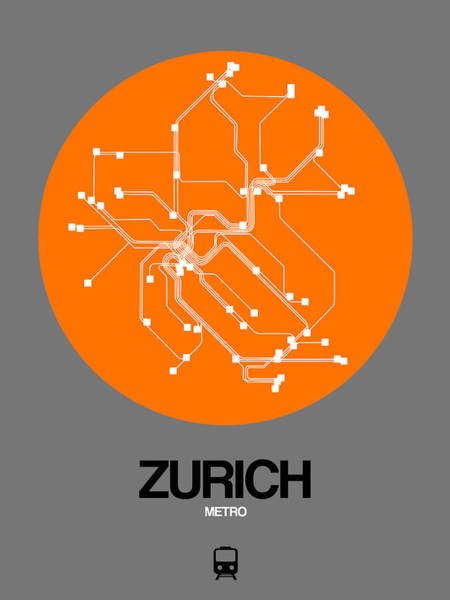 Wall Art - Digital Art - Zurich Orange Subway Map by Naxart Studio