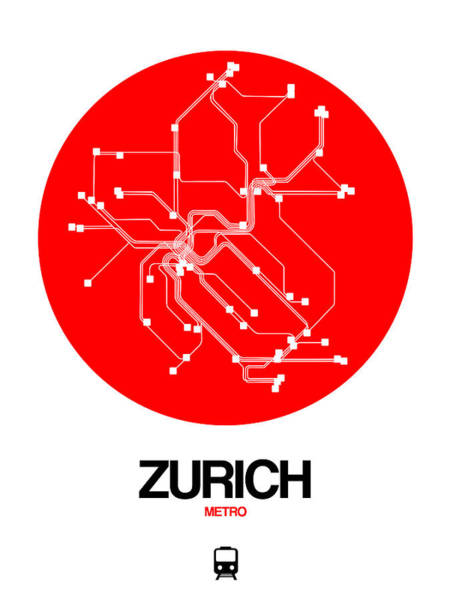 Wall Art - Digital Art - Zurich Red Subway Map by Naxart Studio