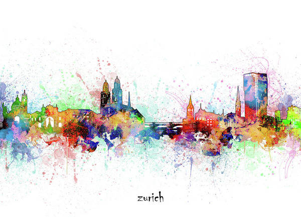 Wall Art - Digital Art - Zurich Skyline Artistic by Bekim M