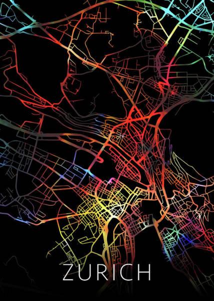 Wall Art - Mixed Media - Zurich Switzerland Watercolor City Street Map Dark Mode by Design Turnpike