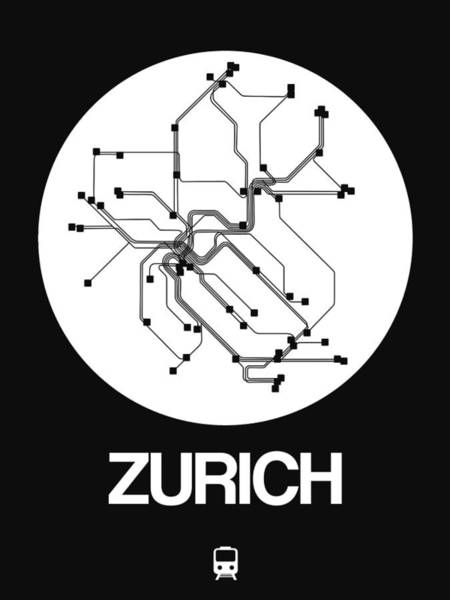 Wall Art - Digital Art - Zurich White Subway Map by Naxart Studio