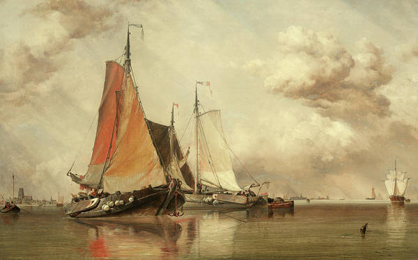 Wall Art - Painting - Zuyder Zee, Fishing Craft In A Calm by Edward William Cooke