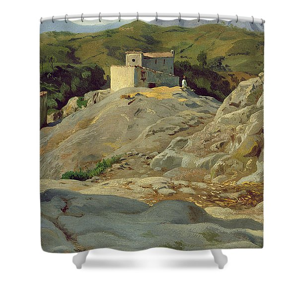 A Village In The Mountains Shower Curtain
