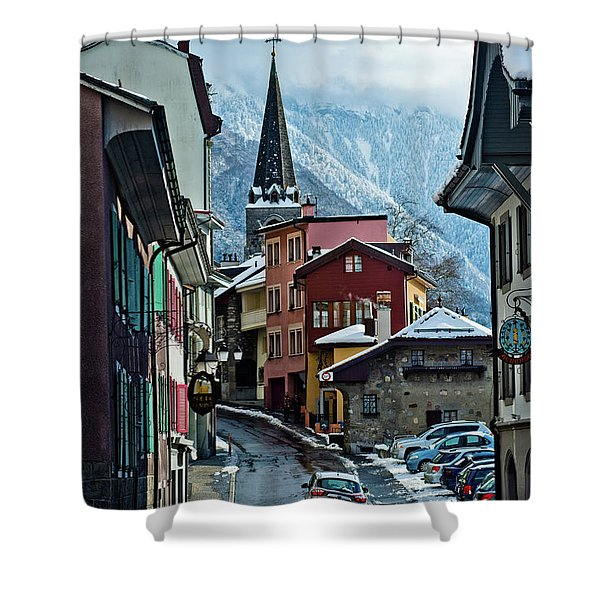A Winter Day In Montreux, Switzerland Shower Curtain