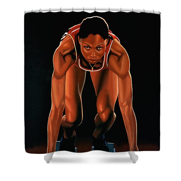 Allyson Felix Painting  Shower Curtain