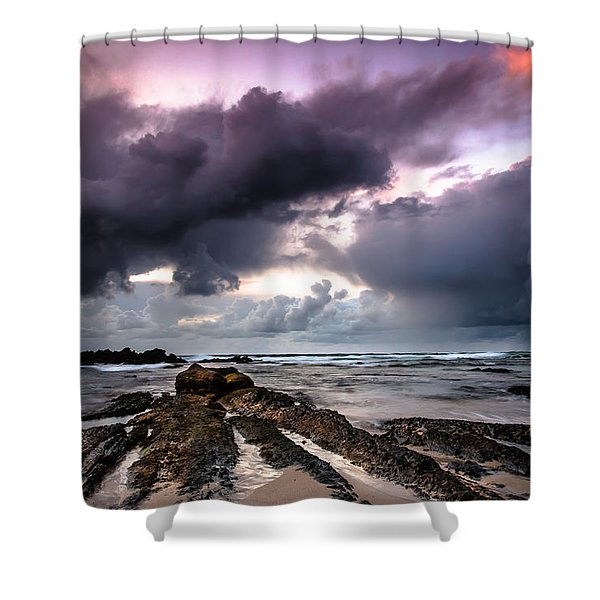 Around The World On A Boat Rock Shower Curtain