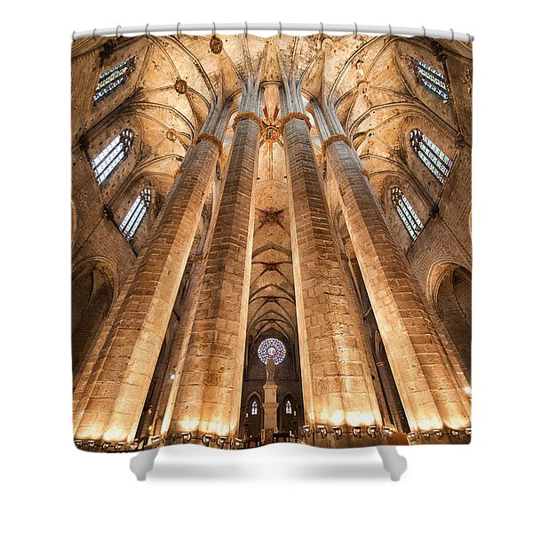 Basilica Of Santa Maria Del Mar In Barcelona Shower Curtain