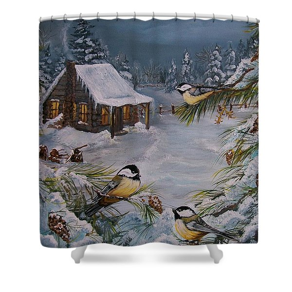 Black Capped   Chickadee's  Shower Curtain