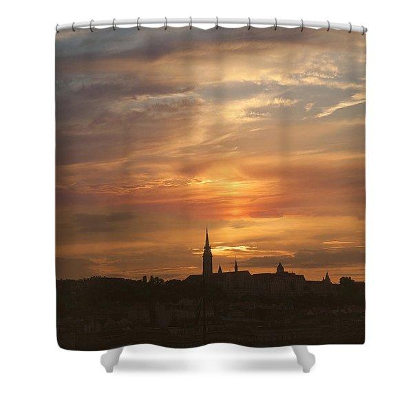 Budapest's Fiery Skies Shower Curtain