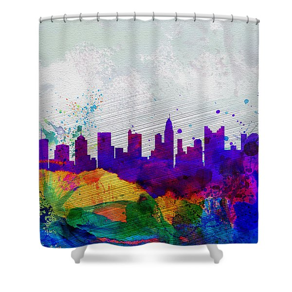 Columbus Watercolor Skyline Shower Curtain