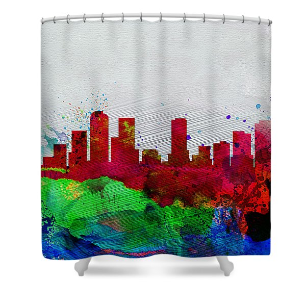 Denver Watercolor Skyline Shower Curtain