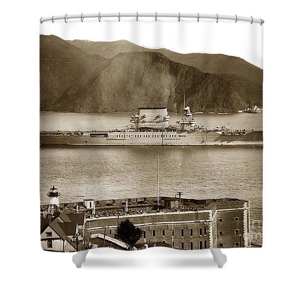 U. S. S. Lexington Cv-2 Fort Point Golden Gate San Francisco Bay California 1928 Shower Curtain