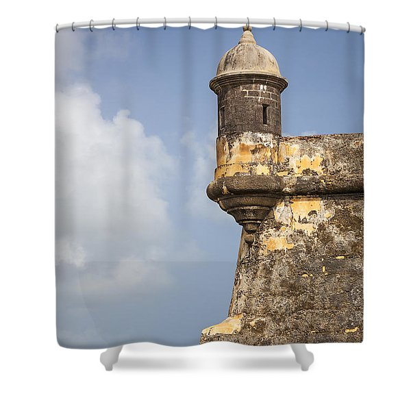Shower Curtain featuring the photograph  Fortified Walls And Sentry Box Of Fort San Felipe Del Morro by Bryan Mullennix