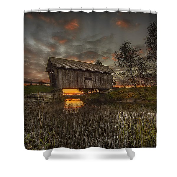 Foster Covered Bridge Sunset Shower Curtain