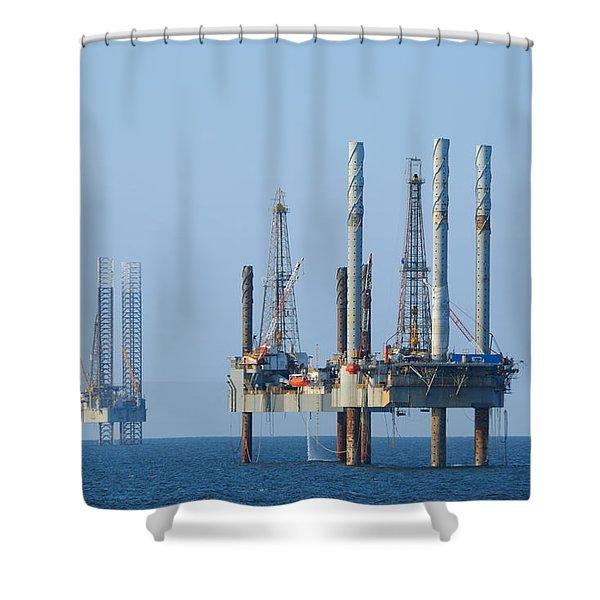 Four Jack Up Platforms Shower Curtain
