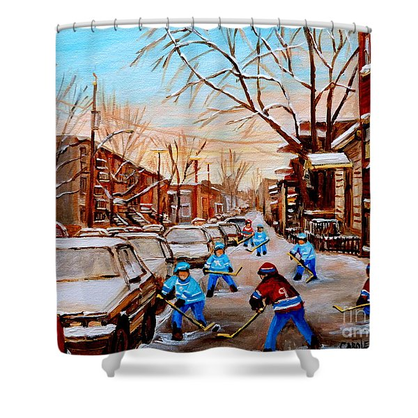 Hockey Art- Verdun Street Scene - Paintings Of Montreal Shower Curtain