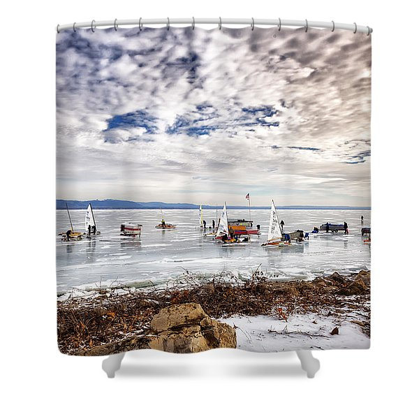 Ice Boats On Lake Pepin Shower Curtain