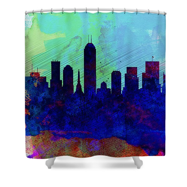 IIndianapolis Watercolor Skyline Shower Curtain