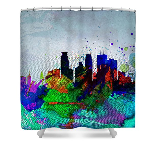 Minneapolis Watercolor Skyline Shower Curtain