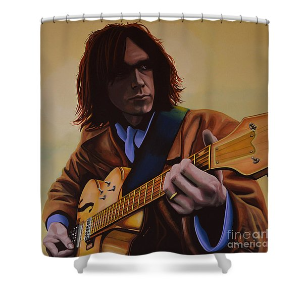 Neil Young Painting Shower Curtain