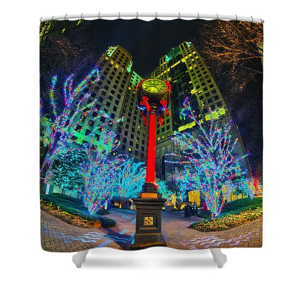 Nightlife Around Charlotte During Christmas Shower Curtain