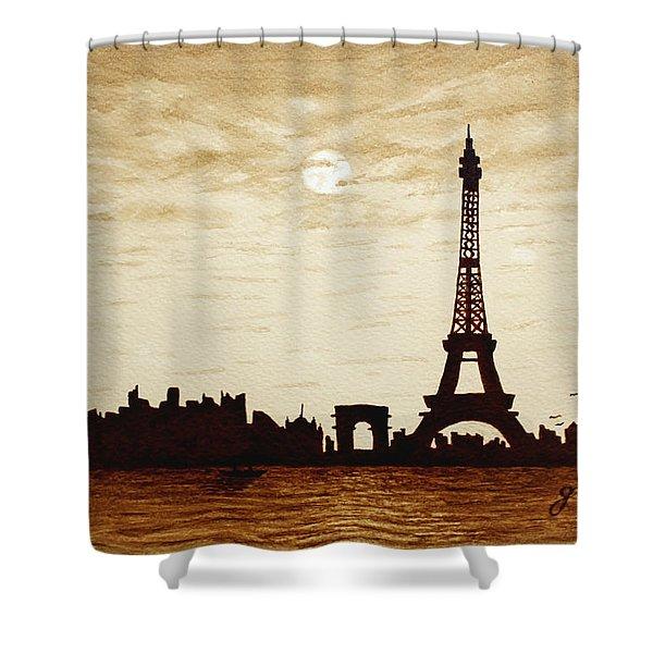 Paris Under Moonlight Silhouette France Shower Curtain