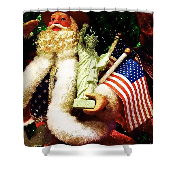 Patriotic Santa Shower Curtain