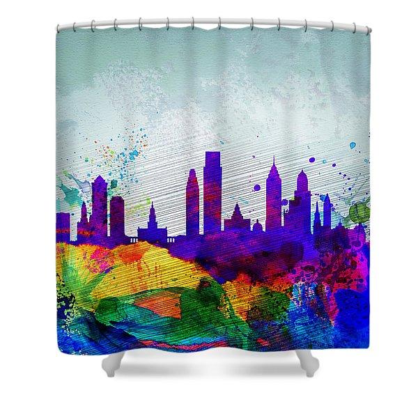 Philadelphia Watercolor Skyline Shower Curtain