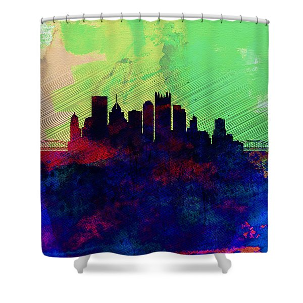 Pittsburgh Watercolor Skyline Shower Curtain