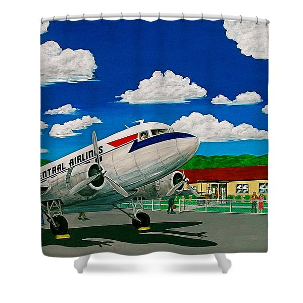 Portsmouth Ohio Airport And Lake Central Airlines Shower Curtain