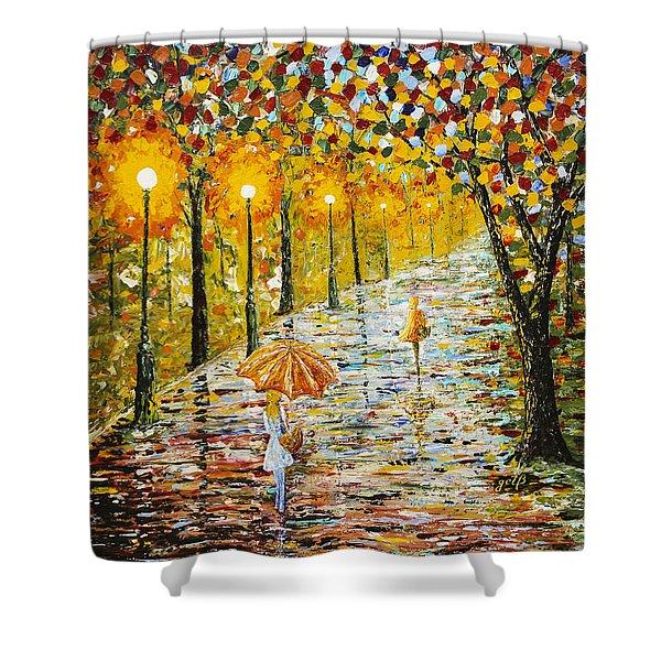 Rainy Autumn Beauty Original Palette Knife Painting Shower Curtain