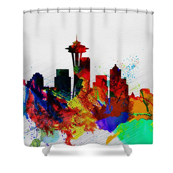 Seattle Watercolor Skyline 2 Shower Curtain
