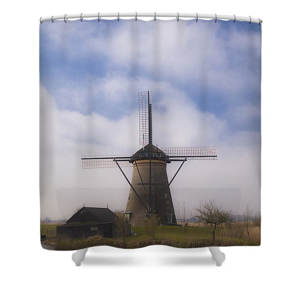 Windmill In Kinderdijk Netherlands Shower Curtain