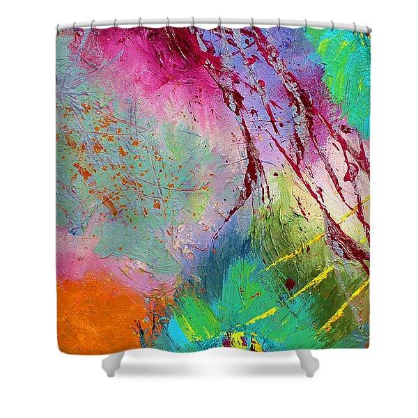 Modern Abstract Diptych Part 1 Shower Curtain