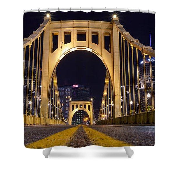 0304 Roberto Clemente Bridge Pittsburgh Shower Curtain