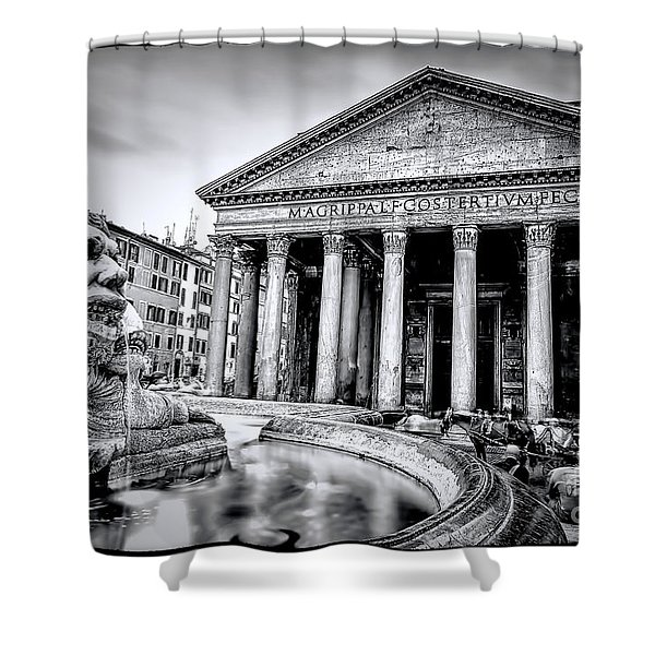 0786 The Pantheon Black And White Shower Curtain