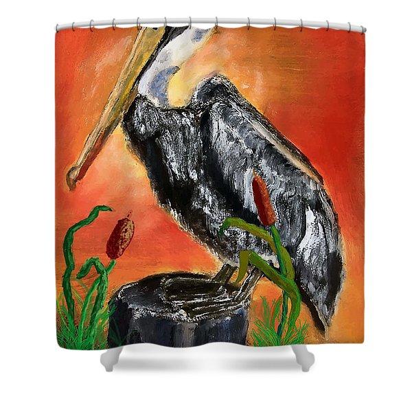 082914 Pelican Louisiana Pride Shower Curtain