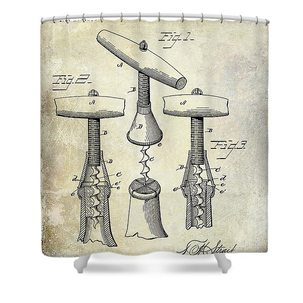 1883 Corkscrew Patent Drawing Shower Curtain