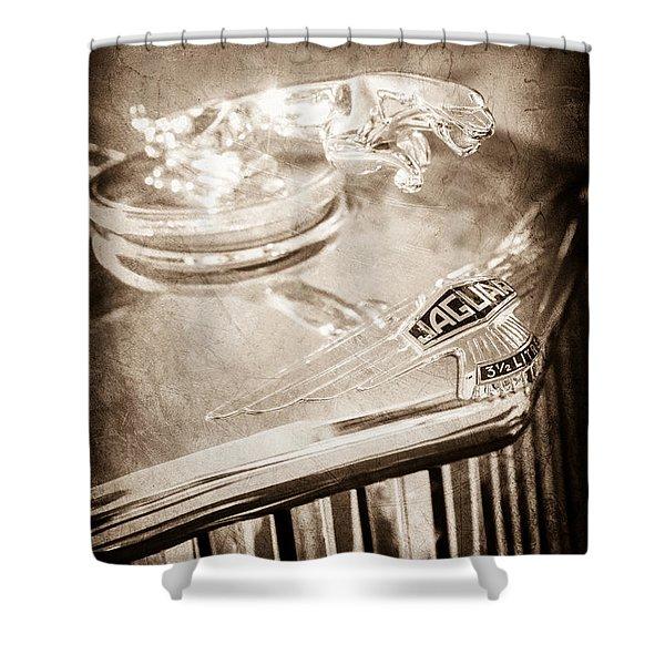 1948 Jaguar Mark Iv Drophead Coupe Hood Ornament Shower Curtain