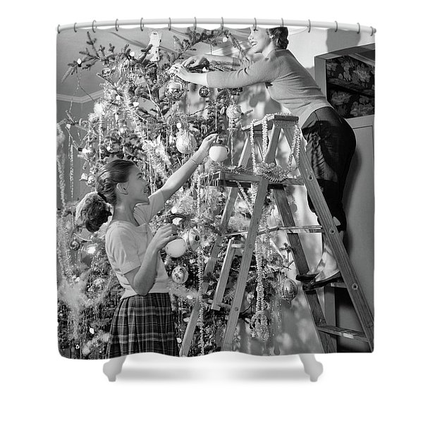 1950s Mother And Daughter Decorating Shower Curtain