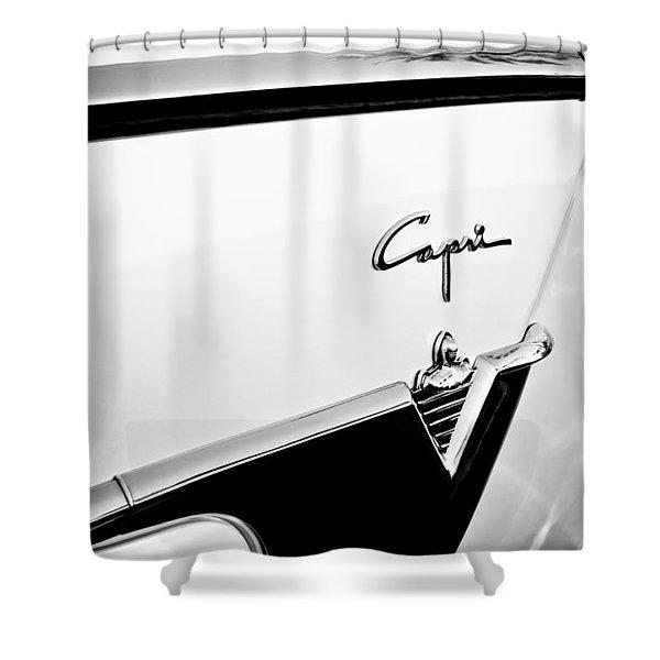 1954 Lincoln Capri Convertible Emblem Shower Curtain