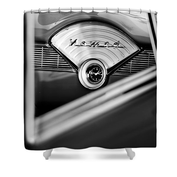 1956 Chevrolet Belair Nomad Dashboard Clock Shower Curtain