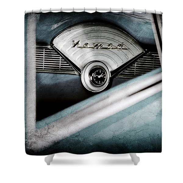 1956 Chevrolet Belair Nomad Dashboard Emblem Shower Curtain