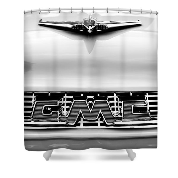 1956 Gmc 100 Deluxe Edition Pickup Truck Hood Ornament - Grille Emblem Shower Curtain