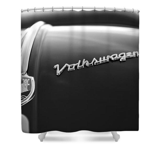 1956 Volkswagen Vw Bug Hood Emblem Shower Curtain