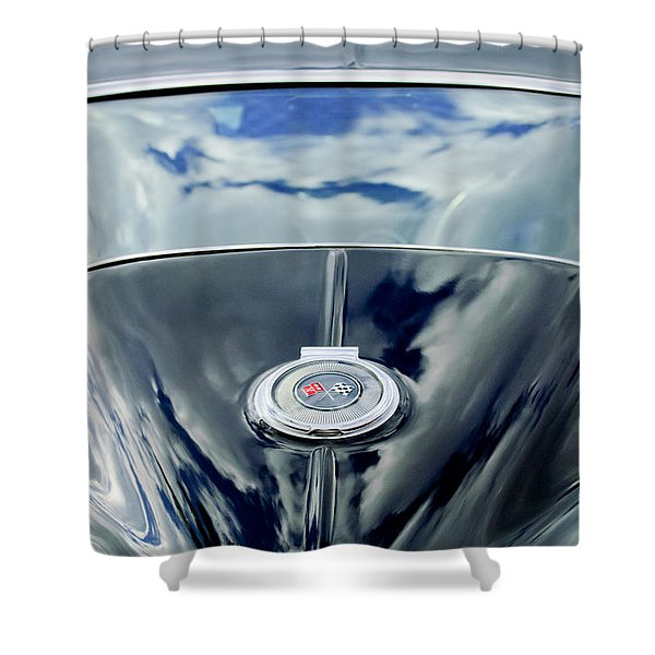 1967 Chevrolet Corvette Rear Emblem Shower Curtain